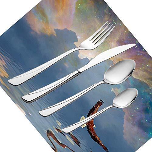 30-teiliges Besteckset, Besteckset aus rostfreiem Stahl von Eagle für 6 Personen, einschließlich Messer, Gabeln, Löffel, Teelöffel und Tischset, in das der majestätische Riesenvogel über dem Meer flie -