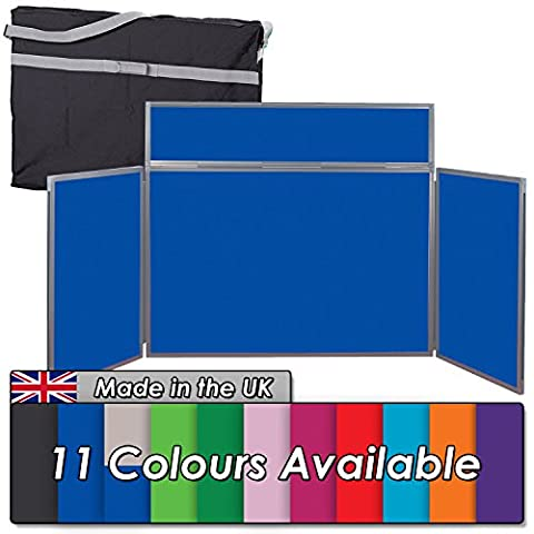 Tabletop Display Kit - 3 Panels with Bag & Header - 11 Colours - For Schools, Exhibitions, Offices (Blue with Grey Frame)
