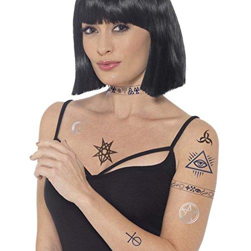 tische Klebetattoos Hexenkostüm Fake-Tattoos Teufelkostüm Tätowierung okkulte Abziehbilder Halloween Kostüm Zubehör (Halloween Okkulte)