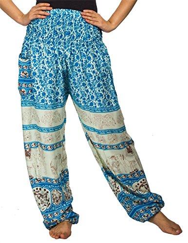 Lofbaz Mujer Smocked Cintura Harén Pantalones Floral Elefante Azul Claro S