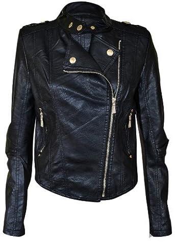 New Womens Faux Leather Pvc Pu Biker Gold Button Zip Crop Ladies Biker Jacket Coat Black Mint Coral 8 10 12 14 (12, Black)