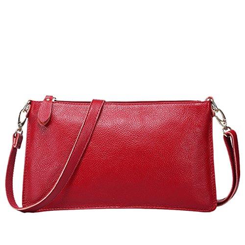 Valin QQB068 Damen Leder Clutch Unterarmtasche Abendtasche,30x2x17 B x T x H (cm) Rot