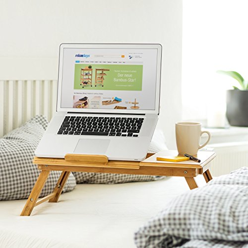 confronta il prezzo Relaxdays Tavolino Porta Notebook in bambù, con Sistema di Ventilazione e Spazio per Mouse e Ulteriori Accessori, H X B X T: 30.5 X 72.5 X 35 cm, Naturale