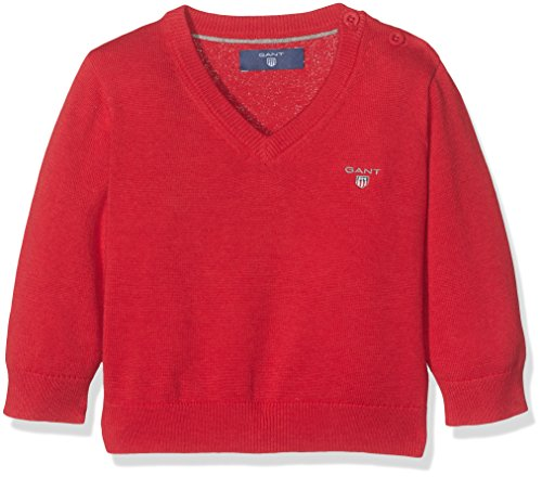 Baumwolle V-neck Lightweight Sweater (GANT Baby-Jungen Lightweight Cotton V-Neck Sweater Pullover, Rot (Bright Red Mel), 9-12 Monate (Herstellergröße: 749M))