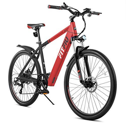 """Fitfiu - Trekking  Bicicleta eléctrica de 27,5"""" EBike, 250W, batería de litio Samsung 36V, con cambio Shimano de 7 velocidades, color negro y rojo"""