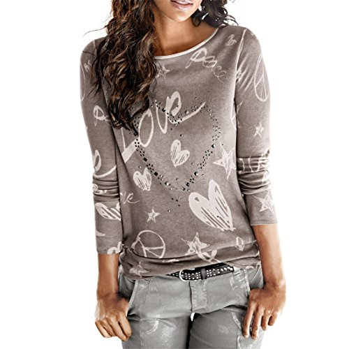 Frauen Bluse,FRIENDGG Damen Mädchen Langarm Brief Gedruckt Shirt Beiläufige Lose Baumwolle Frühling Herbst Winter Tops Solide Elegante Oansatz T-Shirt (XL, Kaffee)