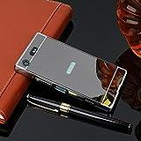 KYS Sony Xperia XA2 Ultra Back Cover, Luxury Metal Bumper + Acrylic Mirror Back Cover Case for Sony Xperia XA2 Ultra - Black