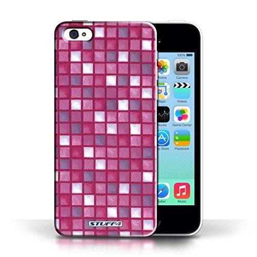 iCHOOSE Print Motif Coque de protection Case / Plastique manchon de telephone Coque pour Apple iPhone 5C / Collection Carreau Bain / Bleu/Vert Rose