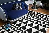 KADIMA DESIGN Moderner Designer Teppich Ouse Rug 160x230 cm ON06 Triangles Black Schwarz Creme 100% Baumwolle