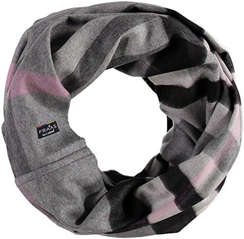 FRAAS Damen-Loop-Schal Kariert aus Cashmink - Made in Germany - Wärmender Rund-Schal - Schlauch-Schal Weicher als Kaschmir - Perfekt für den Winter - The Plaid Steingrau -