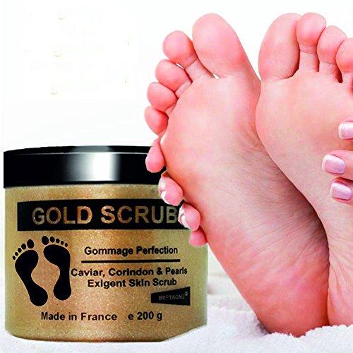 Gold Scrub Gesichtspeeling Körperpeeling Füße schrubben Peeling Hände - mit Edelkorund, Perlen und AHA 200 g