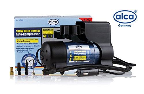 ALCA Alemania 12V compresor de aire compacto y práctico Inflador de neumáticos 20L bomba 11 bar, 160 psi con el enchufe del encendedor, Cable de alimentación de 10 pies y 4 adaptadores