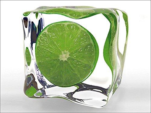 Artland Qualitätsbilder I Glasbilder Deko Glas Bilder 80 x 60 cm Ernährung Genuss Lebensmittel Obst Foto Grün A5LN Limette im Eiswürfel
