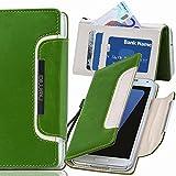 Original Numia Design Luxus Bookstyle Handy Tasche Samsung I9500 I9505 Galaxy S4 SIV Grün Weiss Handy Flip Style Case Cover Gehäuse Etui Bag Schutz Hülle NEU