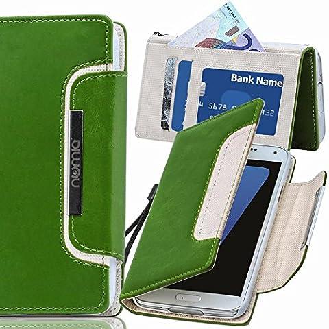 Original Numia Design Luxus Bookstyle Handy Tasche Nokia Lumia 830 Grün-Weiss Flip Style Case Cover Gehäuse Etui Bag Schutz Hülle