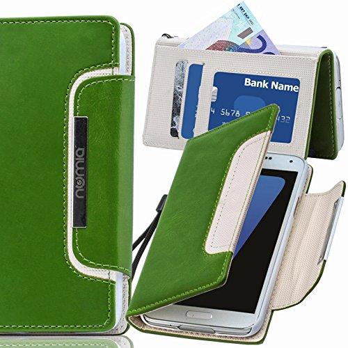 Original Numia Design Luxus Bookstyle Handy Tasche LG E960 Nexus 4 Grün Weiss Handy Flip Style Case Cover Gehäuse Etui Bag Schutz Hülle NEU