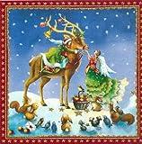 Quadratische Postkarte * Nina Chen * Engel mit Hirsch & Tieren * Glimmerlack