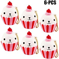 Fansport Squeeze Toy Squishy Toy Simulated Ice Cream Cake Slow Rising Stress Relief Toy with Chain One Size 6Pcs