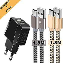 Chargeurs Secteur USB 2 Ports avec câbles USB c 2 Pack, Adaptateur USB Universel Mural & Chargeur USB c pour S10/S9/S8/Note 10/Note 9/ Note 8/Huawei P30/P20/P10/P9/OnePlus/Sony Xperia et Plus