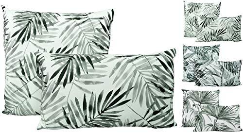 JACK 2X Outdoor Lounge Kissen 45x45cm + 30x50cm Dekokissen Set Palmen Garten Wasserfest Sitzkissen Blätter Reißverschluss Lotus Effekt, Farbe:Regenwald -
