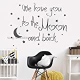 56x73cm Art Lovely Baby Nursery Wall Decal Quote We Love You To The Moon And Back Wall Decals Moon Sticker Home