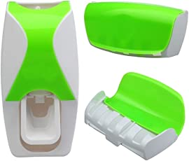 Skyclean Automatic Toothpaste Dispenser Automatic Squeezer and Toothbrush Holder Bathroom Dust-proof Dispenser Kit Toothbrush Holder Sets (Green)