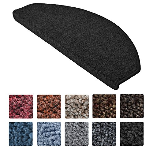 Beautissu 15 Large Stair Pads ProStair 28 x 65 cm Step Carpet Non Slip Adhesive Mat / Rug for Stair Tread Anthracite