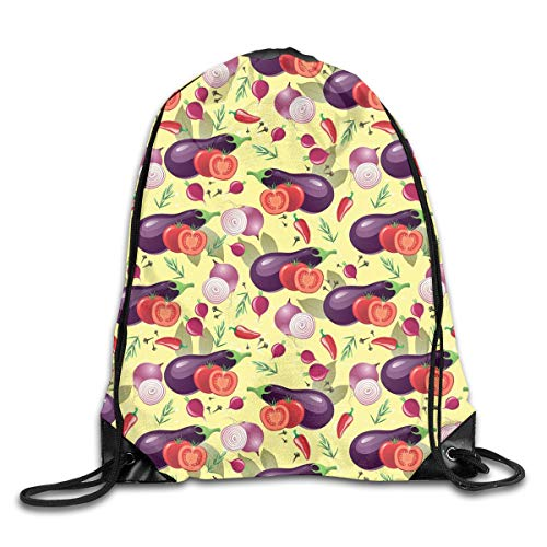 Drawstring Backpack Gym Bags Storage Backpack, Eggplant Tomato Relish Onion Going Green Eating Organic Tasty Preserve Nature,Deluxe Bundle Backpack Outdoor Sports Portable Daypack Vintage-relish