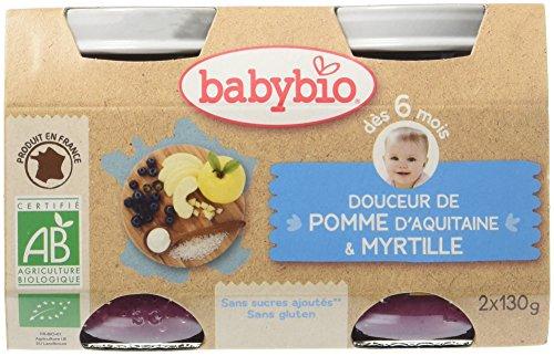 Babybio Pots Douceur de Pomme d'Aquitaine/Myrtille 260 g - Lot de 6