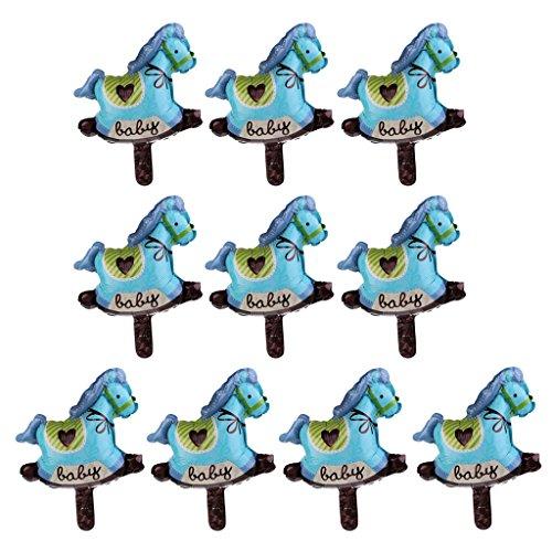 MagiDeal 10pcs Globos en Forma de Trojan Decoración de Fiesta de Bautizo de Ducha de Bebé Regalos para Niños Rosado/Azul - Azul