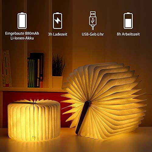 Hölzerne faltbare Buch-Lampe,LED-Licht mit Akku - 3