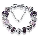 A TE® Charm Bracelet Purple Murano Glass Crystal - Best Reviews Guide