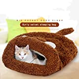 Sac de couchage de chat en velours bouclé Nid de chat Lit d'animal Automne et hiver Lit de chat Tapis de chat Maison de chat Nid chaud Pet Waterloo