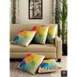 "Romee multicolor Polyester Jute Fabric California flower Print Cushion Cover 16"" x 16""(set of 5)"
