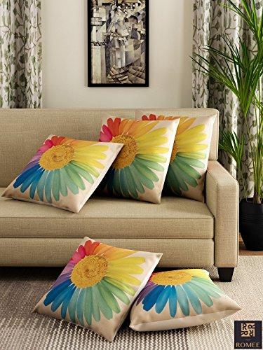 Romee multicolor Polyester Jute Fabric California flower Print Cushion Cover 16