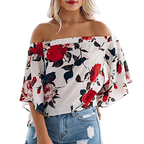 bluse damen Kolylong® Frauen elegante trägerlose gedruckte flare Ärmel Bluse Herbst mode lange Ärmel Hemd Lose T-Shirt Tops (M, Weiß) (Flare-hose Schnur)