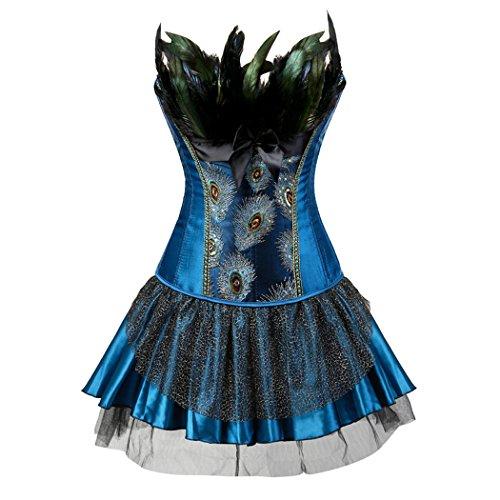 ust Corsagenkleid Übergrößen Korsett Bustier Korsage mit Rock Burlesque Petticoat Kostüme Pfau Pattern Blue-4XL-Blue (Günstige Halloween-korsett)