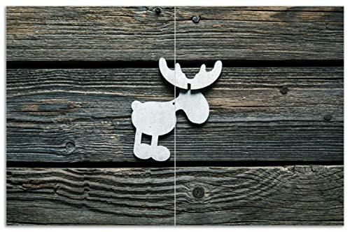 Wallario Herdabdeckplatte/Spritzschutz aus Glas, 2-teilig, 80x52cm, für Ceran- und Induktionsherde, Motiv Elch Symbol in weiß, vor dunklem Holz 80 Symbol