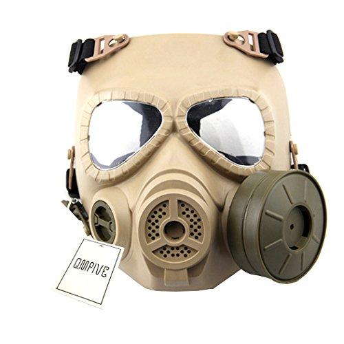 QMFIVE Générique Tactical Airsoft Paintball BB Gun Full Face Protégez le Mask M04 avec Filtre (Brown)