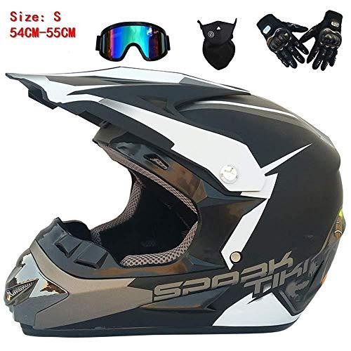 GHJGFGH Helmet Helm-Mens Womens Full Face Motocross Helm Racing Motorrad Helm Motocross Helm MTB Schutz Schutzhelm Mit Brille Handschuhe Maske,Small -