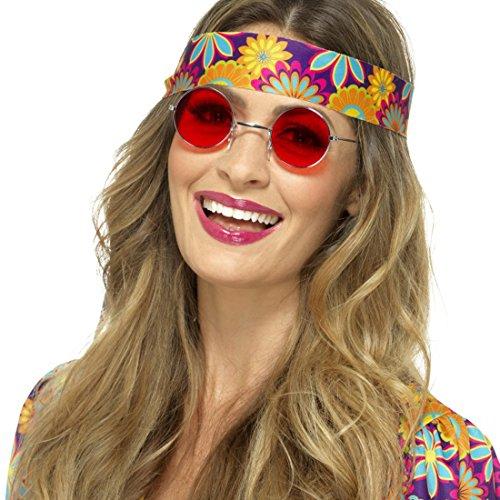 Hippie Sonnenbrille John Lennon Hippiebrille rot Schlagermove Funbrille Peace 60er Jahre Partybrille