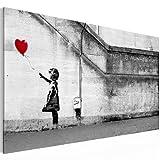 Bilder 100 x 57.5 cm – Balloon Girl by Banksy Bild - Vlies Leinwand - Kunstdrucke -Wandbild - XXL Format - mehrere Farben und Größen im Shop - Fertig zum Aufhängen - !!! 100% MADE IN GERMANY !!! 3016140a
