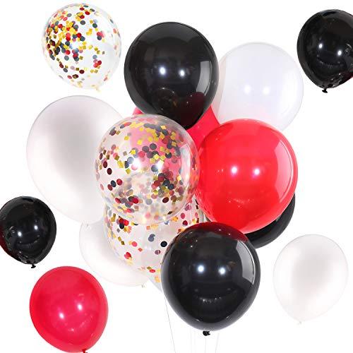 Tatuo 90 pezzi 12 pollici palloncini di palloncini coriandoli per il compleanno festa di nozze forniture (bianco nero rosso)