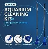 Kit di pulizia per la spazzola del pesce di pesce Funzionali cinque strumenti di pulizia per la pulizia telescopica dell'acquario 5 in 1