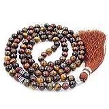 Edelstein Mala Perlen Halskette, Mala Armband, buddhistische gebetsperlen, verknotete perlenkette (Mix Tiger Augen Stein) …
