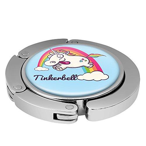 Taschenhalter Verrücktes Einhorn Personalisiert mit Namen Tinkerbell printplanet Chrom