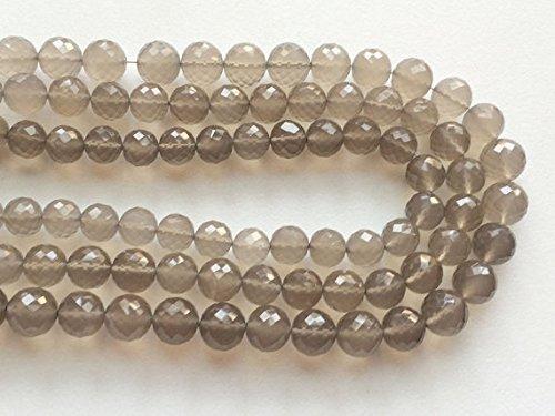1 Mèche Gris naturel Calcédoine, Micro à facettes Perles Balles rondes, gris Perles de Calcédoine, 8.5–10,5 mm, 20,3 cm