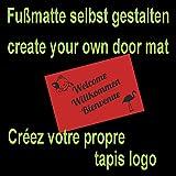 WohnDirect Fußmatte selbst gestalten I Geschenk mit ihrem Namen/Bild / Logo I große Auswahl, (60x85cm Burgunder)