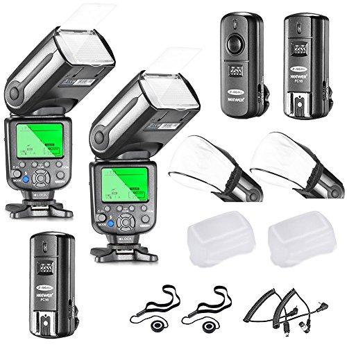 Neewer® Profi i-TTL-Kamera Slave Flash Blitz Blitzgerät Set für NIKON D7100 D7000 D5300 D5200 D5100 D5000 D3200 D3100 D3300 D90 D800 D700 D300 D610 D300S, D3S D3X Inklusive D3 D4 D600 D200 DSLR Kamera,das Set beinhaltet: 2 Neewer Auto-Fokus Blitz + 2.4Ghz Wireless Trigger (1 Sender, 2 Empfänger) + N1 Kabel und N3 Kabel + 2 Hart & Weich Blitz-Diffusoren + 2 Objektivdeckelhalter (Kamera Fernbedienung Für Canon Rebel Xs)