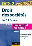 Droit des sociétés - DCG 2 - 4e éd. - en 23 fiches